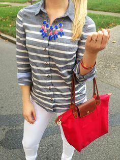 white denim, grey stripes, cobalt necklace, and bright red longchamp