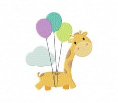 Up and Away Giraffe Machine Embroidery Design by EmbroideryFirst