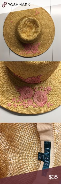 Ralph Lauren straw hat! Pretty embroidered hat by Ralph Lauren! Size M barely used! Please message with any questions :) Ralph Lauren Accessories Hats
