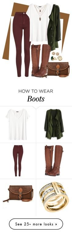 """""""Casual Chic - Brown Riding Boots"""" by reffiney95 on Polyvore featuring moda, Topshop, H&M, Chicwish, Naturalizer, St. John's Bay, Michael Kors y Carolee"""