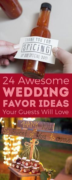 Wedding favor ideas that don't suck! Most involve food and alcohol, naturally. #UniqueWeddingFavor