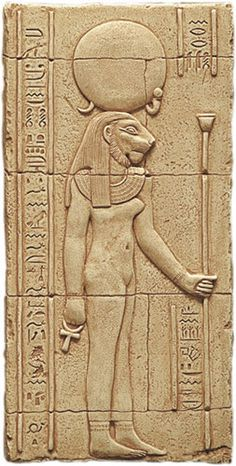Sekhmet was represented as a lioness or as a woman with lion's head. She carries an ankh.