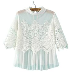 Persun Women's High Neck Floral Lace Crochet Sheer Ruffle Blouse ($18) ❤ liked on Polyvore featuring tops, blouses, high neck white blouse, sheer lace blouse, ruffle blouse, crochet blouse and white frilly blouse