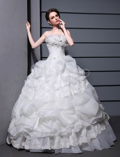 White Ball Gown Strapless Pleated Beading Organza Bridal Wedding Gown #milanoo