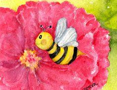 Dark Pink Peony with Bee Original Watercolor by SharonFosterArt, $10.00