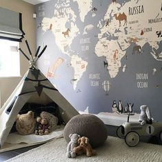 kid playroom with world map wallpaper and teepee in boy bedroom decor or girl be. kid playroom with world map wallpaper and teepee in boy bedroom decor or girl bedroom decor, adventure kid room design with map wallpaper for nursery design Baby Boy Rooms, Baby Bedroom, Nursery Room, Themed Nursery, Bedroom Kids, Map Nursery, Travel Theme Nursery, Room Baby, Girl Nursery