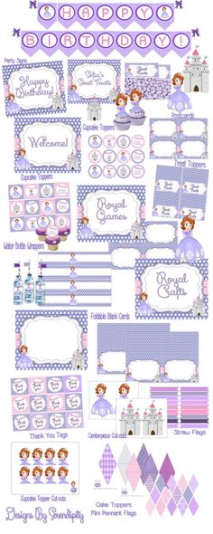 60 off Sofia the First Party Pack INSTANT by SerendipityPlanning, $12.95
