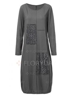 Dress - $39.99 - Solid Long Sleeve Knee-Length O Dress (1955375186)