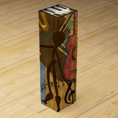 Scat Masters (Jazz Series Pt. 6) - This toe-tapping wine gift box features a slice of Leslie Sigal Javorek's Abstract Expressionist style original digital painting that captures the free spirit of jazz and the sensual vibes encouraged by the warm, vibrant shades of gold, brown, pine, paprika and denim blue. See coordinating Products @ www.zazzle.com/icondoit+jazz+gifts?rf=238155573613991097&tc=pnt #jazzwinebox #musicwinebox #modernartwinebox #musicloverswinebox