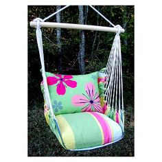 Have to have it. Magnolia Casual Garden Flowers Hammock Chair and Pillow Set - $159.99 @hayneedle.com