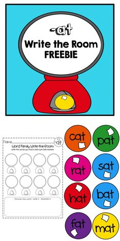 -at word family:  Write the Room FREEBIE:  A fun way to get your students up & moving AND learning to read CVC words!