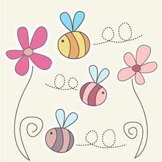 Clip Art Pictures, Cute Bumble Bee Clipart set - 2 Flowers and 3 Bees - Great for Scrapbooking, Cardmaking and Paper Crafts. via Etsy Applique Templates, Applique Patterns, Bumble Bee Clipart, Bumble Bees, Diy Bordados, Decoration Creche, Flower Clipart, Dragonfly Clipart, Easy Drawings