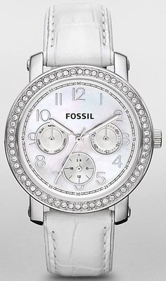 FOSSIL es2980 white leather band mother of pearl face BLING bezel #fossilwatch #fossilwatches #fossiles2980