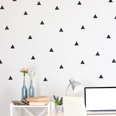 wall decal Mini-Pack - Triangle $12 for 68 two inch triangles. Can customize color. Put on window walls, ceiling, or dresser?