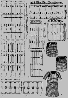 Reconstruction of possible ways to mount armor plates. Russia, 7th-2nd century BC.