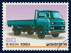 POSTAGE STAMPS FOR KOREAN MADE CARS SERIES(Ⅲ), Car, Car, Turquoise, Purple, 1983 05 25, 국산자동차 시리즈(제3집), 1983년05월25일, 1296, 트럭(2.5t), postage 우표