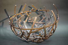 Schalenskulptur aus Corten Stahl im Durchmesser von 50 cm