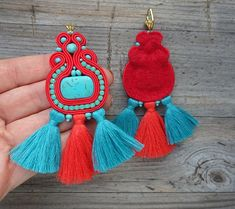 Abelle soutache de orecchini pendientes soutache soutache Beaded Tassel Earrings, Soutache Earrings, Crochet Earrings, Vestidos Color Salmon, Handmade Accessories, Handmade Jewelry, Collar Hippie, Decorative Tape, Red Felt