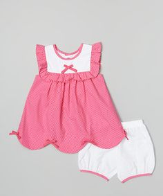 This Hot Pink Polka Dot Dress & Bloomer - Infant & Toddler by Les Petits Soleils by Fantaisie Kids is perfect! #zulilyfinds