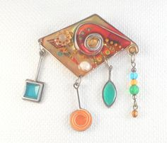 Modernist Abstract Mixed Materials Dangle Brooch OOAK Colorful
