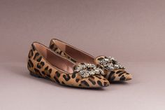 Leopard-print calf hair embellished flat pointed ballerinas