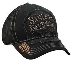 29ed56f482993b HarleyDavidson Womens Studded Ornate Willie G Skull Baseball Cap Black  BC14630 *** Want to