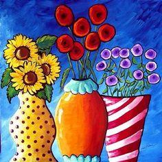 COLORFUL FLOWER VASES Folk Art Giclee Canvas by reniebritenbucher, $36.00