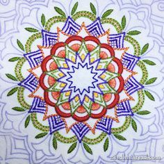 Mary Corbet: Kaleidoscope Embroidery Design Sample #2. use for box lid or tray?