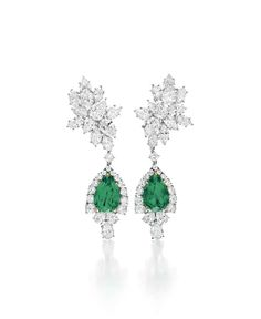 A PAIR OF EMERALD AND DIAMOND EAR PENDANTS, BY HARRY WINSTON