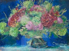 Flowers at the blue background by CharskayaLucya on DeviantArt Deviantart, Blue Backgrounds, Canvas, Flowers, Painting, Tela, Painting Art, Canvases, Paintings