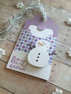 Christmas Gift Tag, Christmas Gift Card Holder, Snowman Card,Blue christmas,Let it Snow gift tag,Snowflake tag,snowman gift tag,holiday tag by sharon.smi