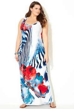 Abstract Floral Stud Maxi Dress,