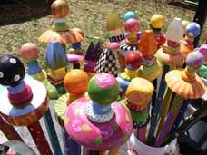 Home Decor - Whimsical garden stakes.  What a great imagination and some paint can do to lift the spirits!