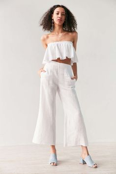 Faithfull The Brand Tomas Linen Flared Pant - Urban Outfitters