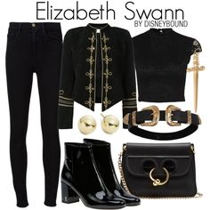 Elizabeth Swann by leslieakay on Polyvore featuring Yves Saint Laurent, Frame, J.W. Anderson, Lord & Taylor, Jennifer Fisher, disney, disneybound and disneycharacter