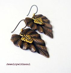 Dancing leaves textured layered leaf dangle by jewelrywithsoul, $20.00