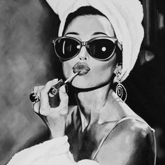 Audrey Hepburn Sunglasses & Lipstick Black And White Wall Art Movie Poster Fine Art Canvas Prints Stylish Pictures For Modern Home Decor Gray Aesthetic, Black Aesthetic Wallpaper, Black And White Aesthetic, Aesthetic Women, Aesthetic Gif, Black And White Picture Wall, Black And White Pictures, Black And White Posters, Black And White Painting