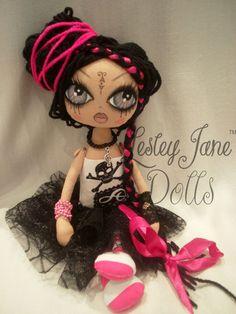 Rock Star Cloth Art Rag Doll by lesleyjanedolls on Etsy