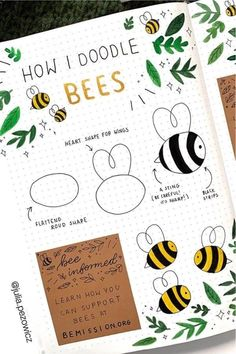 Bee Themed Bullet Journal Spreads For 2020 – Crazy Laura – Bee Bullet Crazy Journal Laura Bullet Journal Banner, Bullet Journal Notebook, Bullet Journal Spread, Bullet Journal Ideas Pages, Journal Prompts, Bullet Journal Inspiration Creative, Art Journal Challenge, Easy Doodle Art, Doodle Art Journals