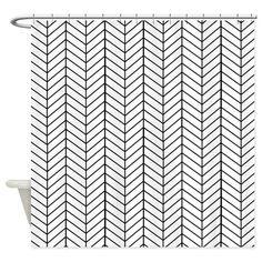 Black and white herringbone Shower Curtain on CafePress.com