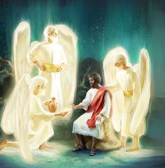 Unos ángeles se le aparecen a Jesús y lo fortalecen