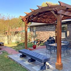 Arched Pergola Kits (Options: 14' L x 12' Arc W, California Redwood, 2 Electrical Wiring Trims, Arched Roof with Lattice Panels, 4 Post Anchor Kit for Concrete, 1 Ceiling Fan Base, No Privacy Panels, No Curtain Rods, Transparent Premium Sealant). Photo Courtesy of J. Treadway of Fayetteville, Arkansas. Curved Pergola, Deck With Pergola, Covered Pergola, Outdoor Pergola, Pergola Kits, Backyard Patio, Backyard Landscaping, Gazebo, Covered Patios