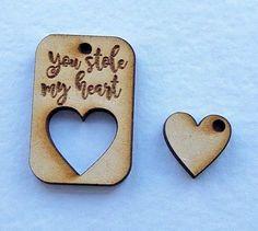 Valentines 'You stole my heart' MDF craft shape Valentine gift ideas,