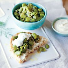 Braised Broad Beans with Garlic Yoghurt
