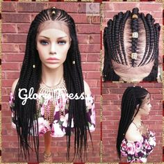 Fulani Box Braided Lace Front Wig, Braided Wig, Senegal Wig, Glory Tress, Corn Row Wig, African American Wig, 13x4 Lace, ON SALE // PERFECT2 Cornrows, Senegalese Twist Braids, Braids Wig, Micro Braids Human Hair, Remy Human Hair, Scene Hair, Straight Lace Front Wigs, Straight Bob, Blond Ombre