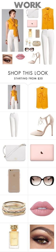 """""""Work Clothes"""" by adna-00 ❤ liked on Polyvore featuring Viktor & Rolf, Paule Ka, Basler, Charlotte Russe, Furla, Agent 18, Gucci, Kendra Scott, Lime Crime and Tory Burch"""