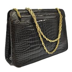 7b1443802db Chanel Rare Vintage Dark Brown Croc Leather Gold Evening Kisslock Top Handle  Bag