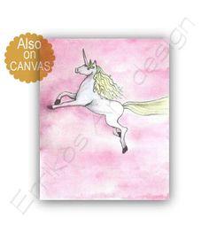 Unicorn Wall Art, Baby Girl Nursery, Princess Decor, Nursery decor girl, Pink Horse, Unicorn Nursery, Girls room decor, Princess Wall Art