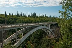 The Hurricane Gulch Bridge in Denali State Park, Alaska is an arch bridge spannning Hurricane Creek on the Parks Highway, formerly known as the Anchorage to Fairbanks Highway.