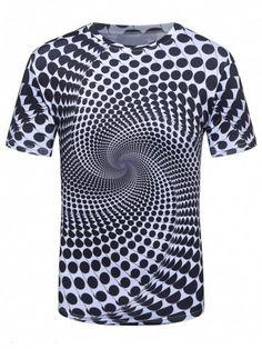 Short Sleeve 3D Spiral Polka Dot Trippy T-Shirt